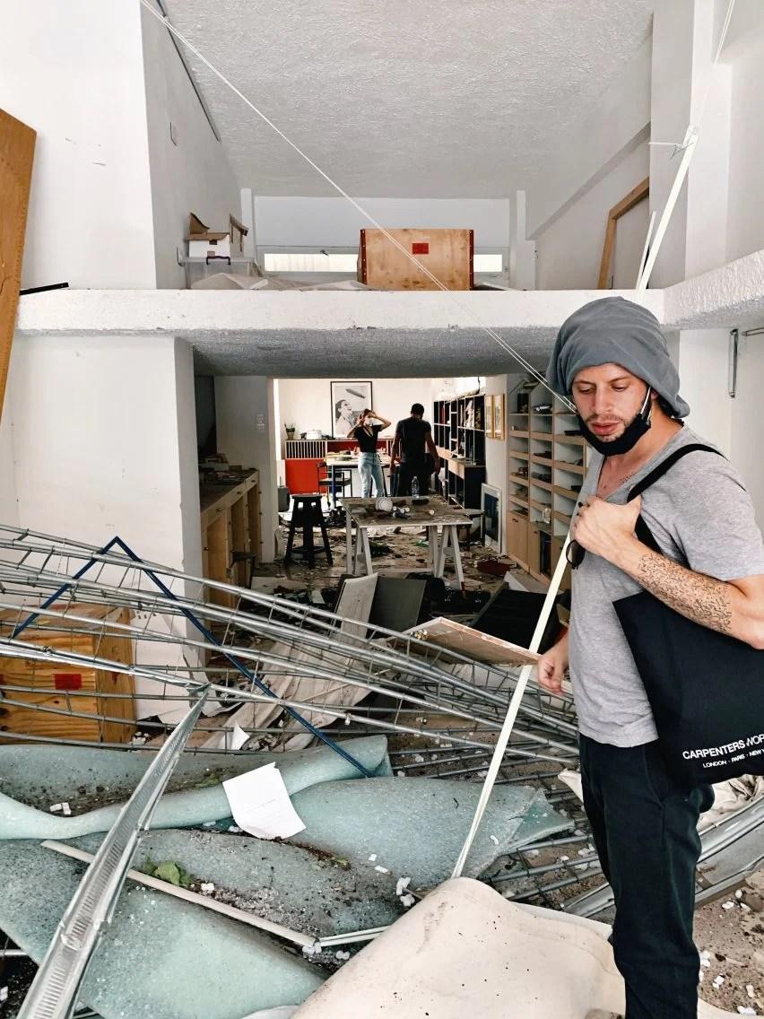 David/Nicolas studio after the explosion in Beirut