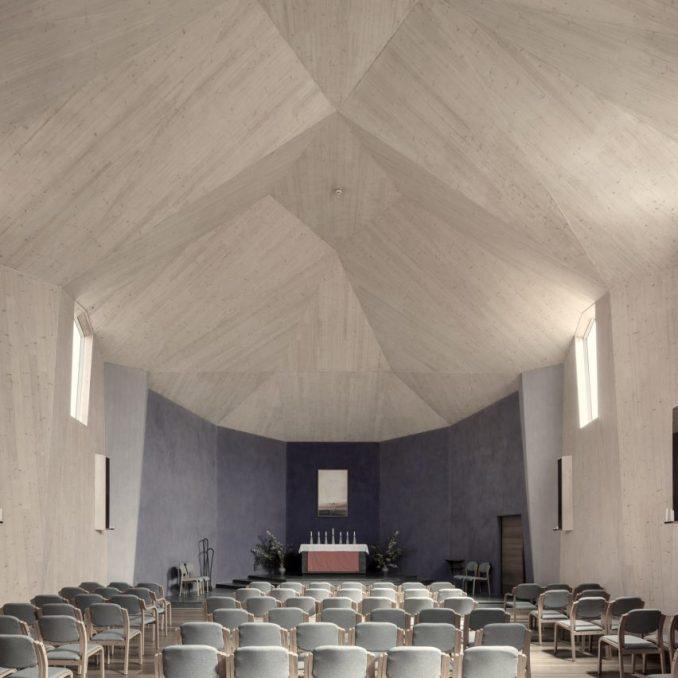 CLT church by Nicolas Pople Architects