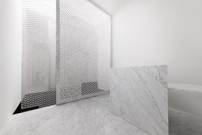 Marsotto marble showroom in Milan features white interiors