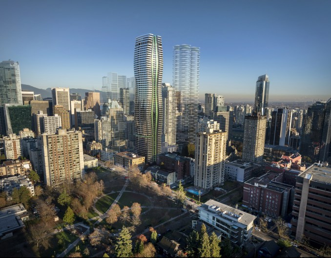 A visual of the Passivhaus 1075 Nelson Street's exterior by WKK Architects in Vancouver