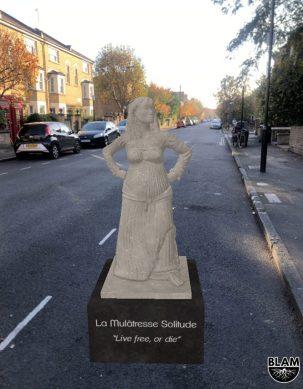 Une statue AR de La Mulâtresse Solitude de l'application BLAM Black History