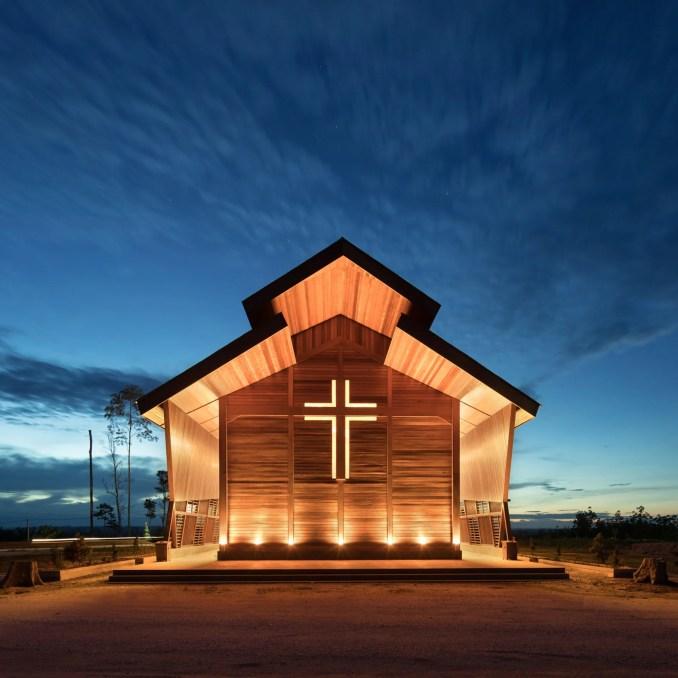 Timber church in Indonesia