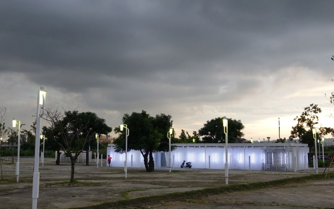Toilet block of Phase Shifts Park designed by landscape architects Mosbach Paysagistes in Taichung, Taiwan