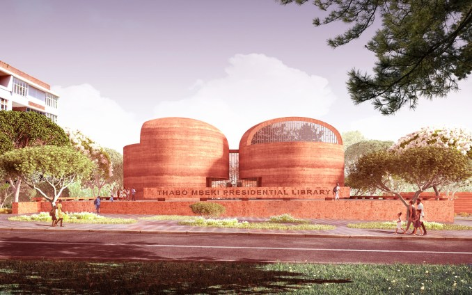 Rammed earth facades of Adjaye Associate's proposed Thabo Mbeki Presidential Library