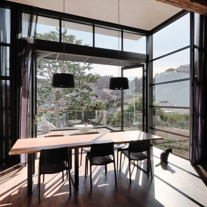 Dining room in Valley Street house by Síol Studios and Levy Art and Architecture