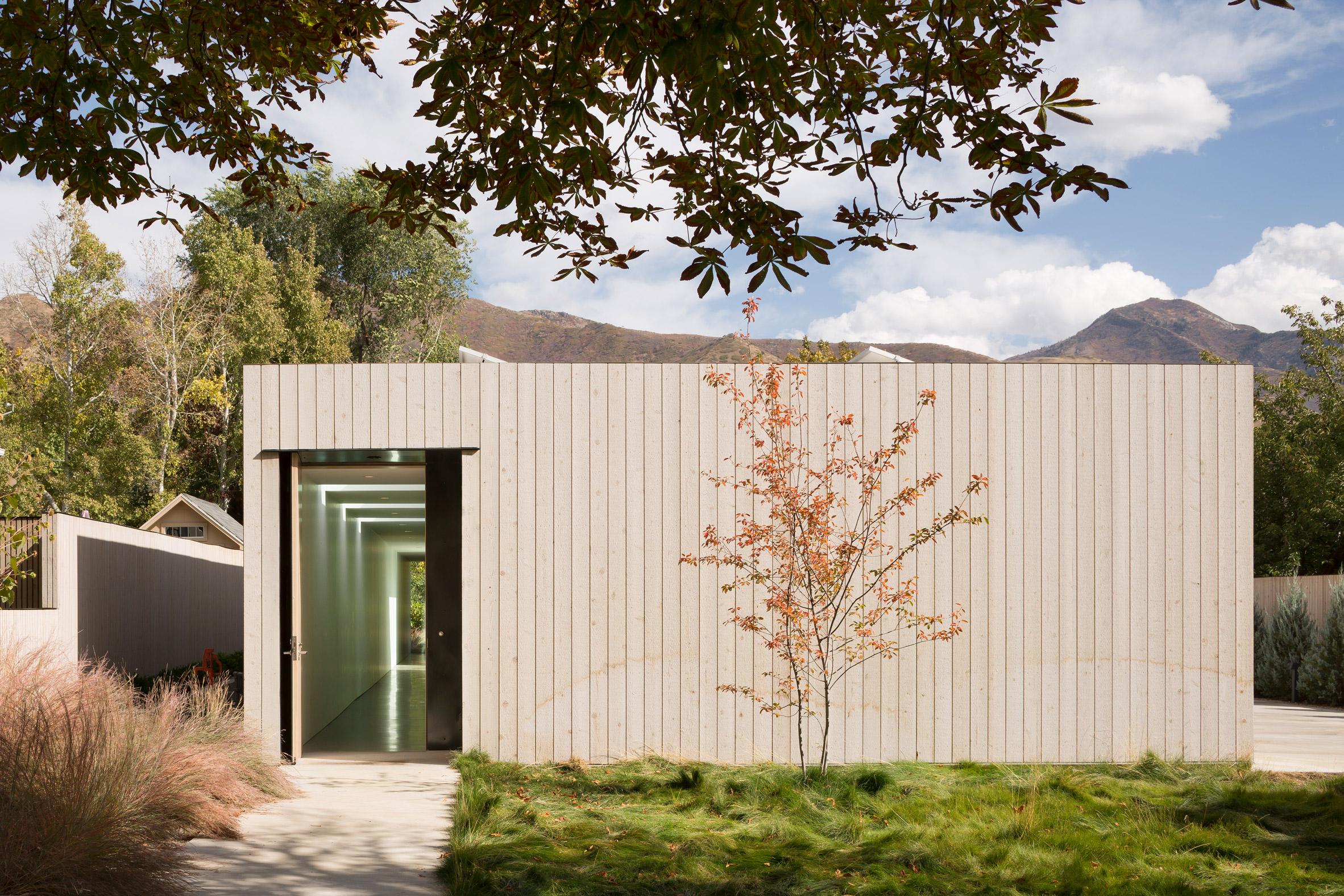 Exerior of cedar-clad Host House