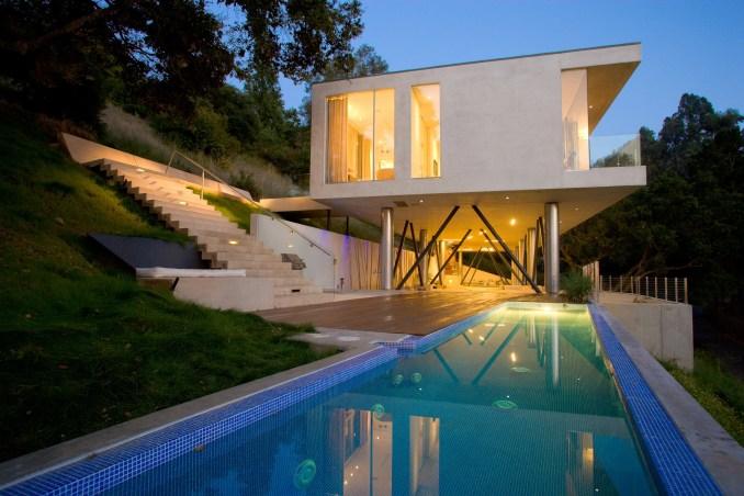 Lap pool underneath Gerhard Heusch Oak Pass Residence Beverly Hills