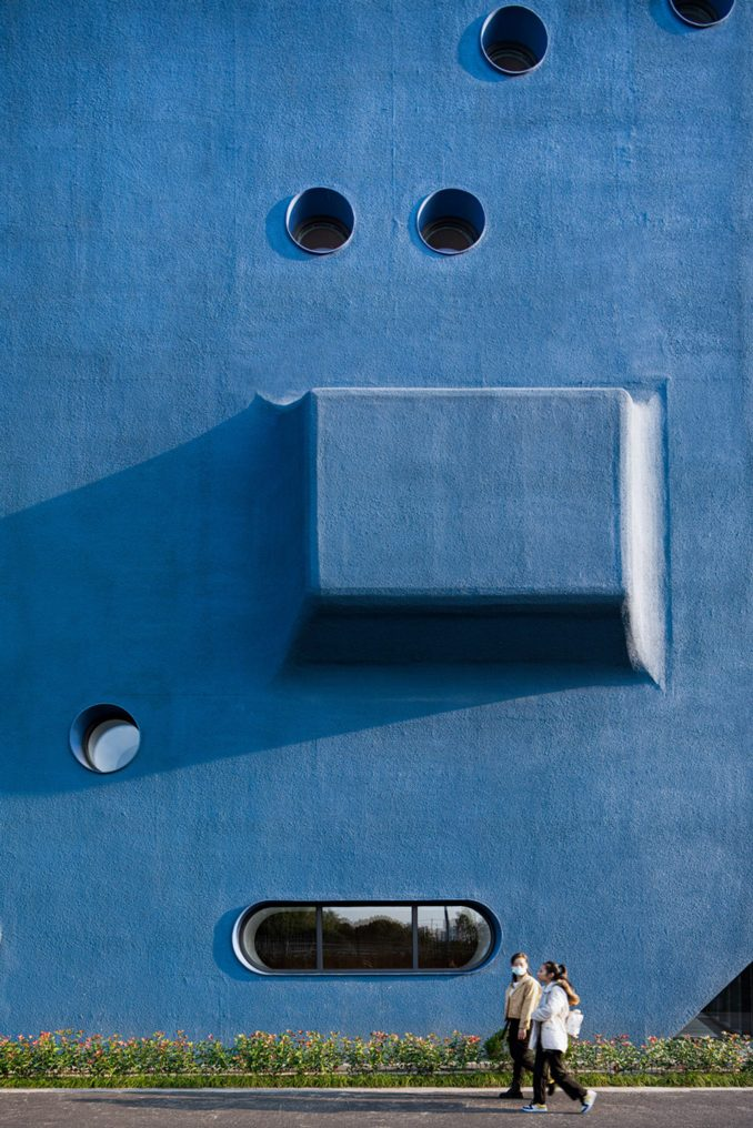Pinghe Bibliotheater blue facade