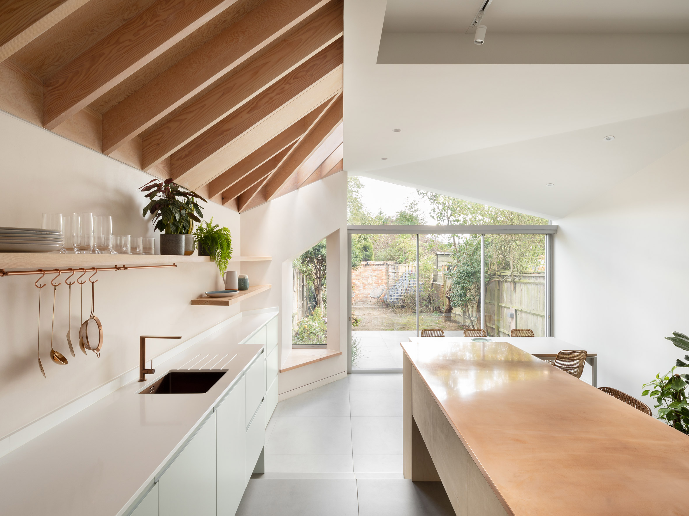 The kitchen of an angular residential extension in London