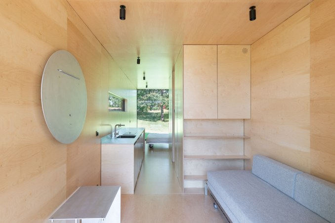 Plywood interior of 019 Cabin by ŠA Atelier and Piritas