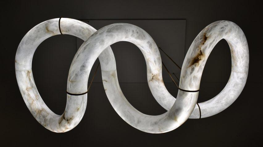 Infinity 12, an alabaster chandelier by Alain Ellouz