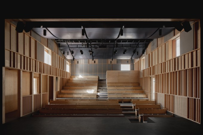 Main theatre space with undulating ceiling