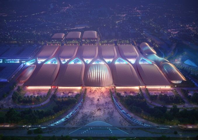 An aerial visual of a Chinese exhibition centre