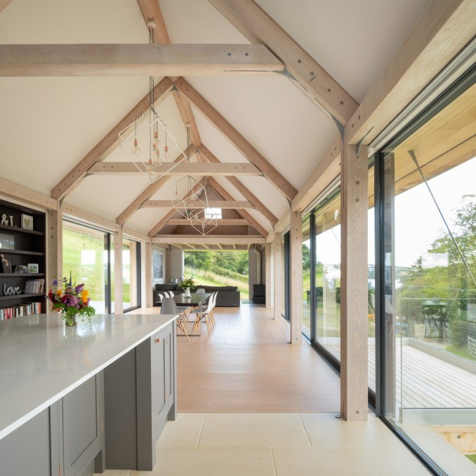 Living room within timber-framed house