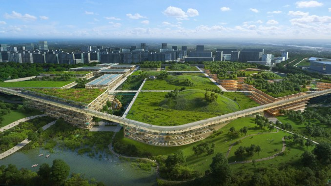 A visual of green-roofed buildings by OMA and GMP for a site in Chengdu