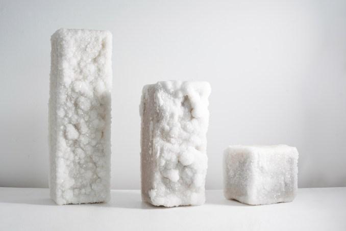 Crystal-covered salt blocks