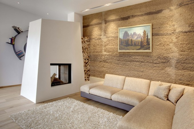 Contemporary freestanding fireplace in Italy