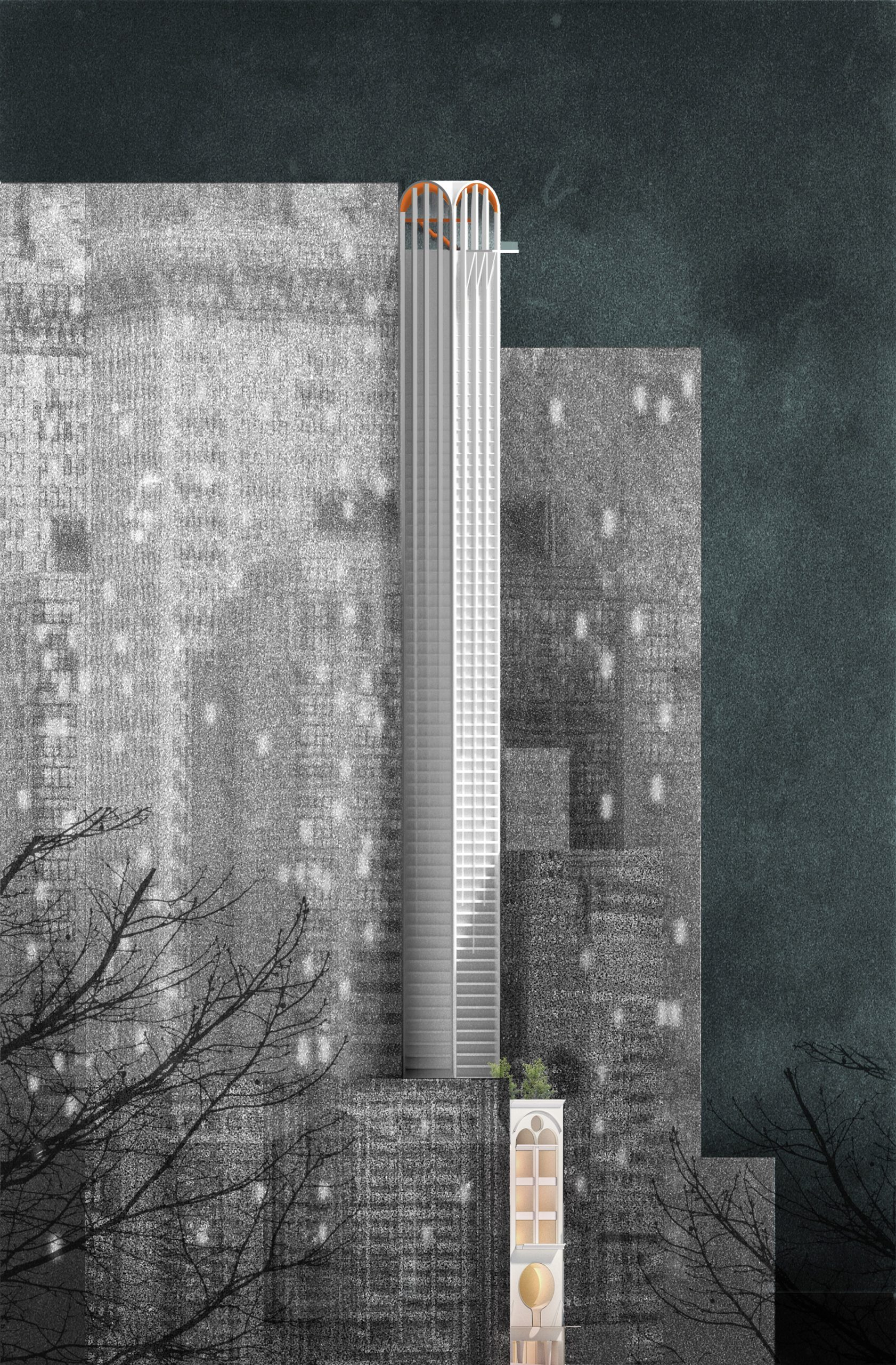 Sketch of Pencil Tower Hotelskyscraper