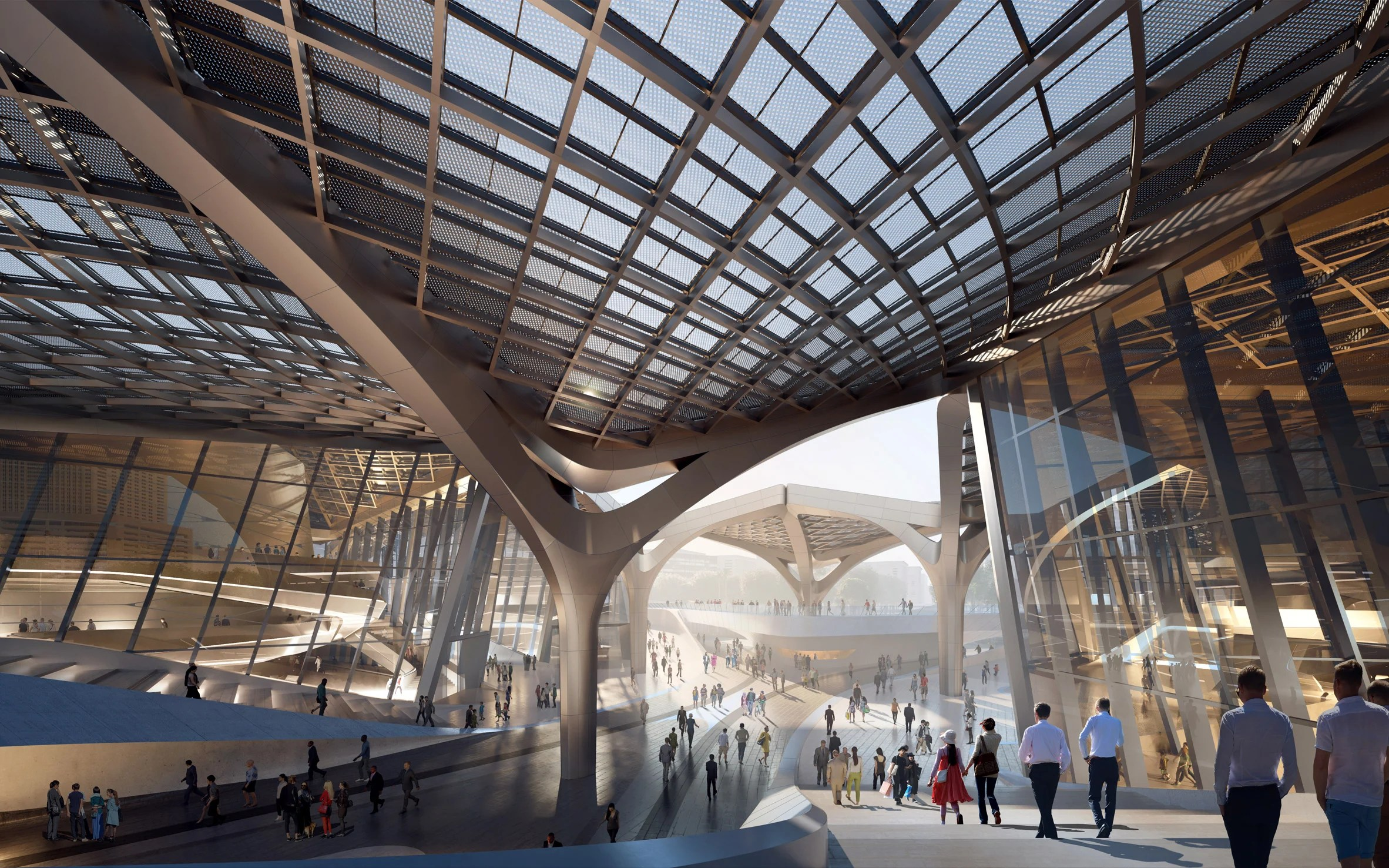 A plaza at the heart of a Chinese cultural centre by Zaha Hadid Architects