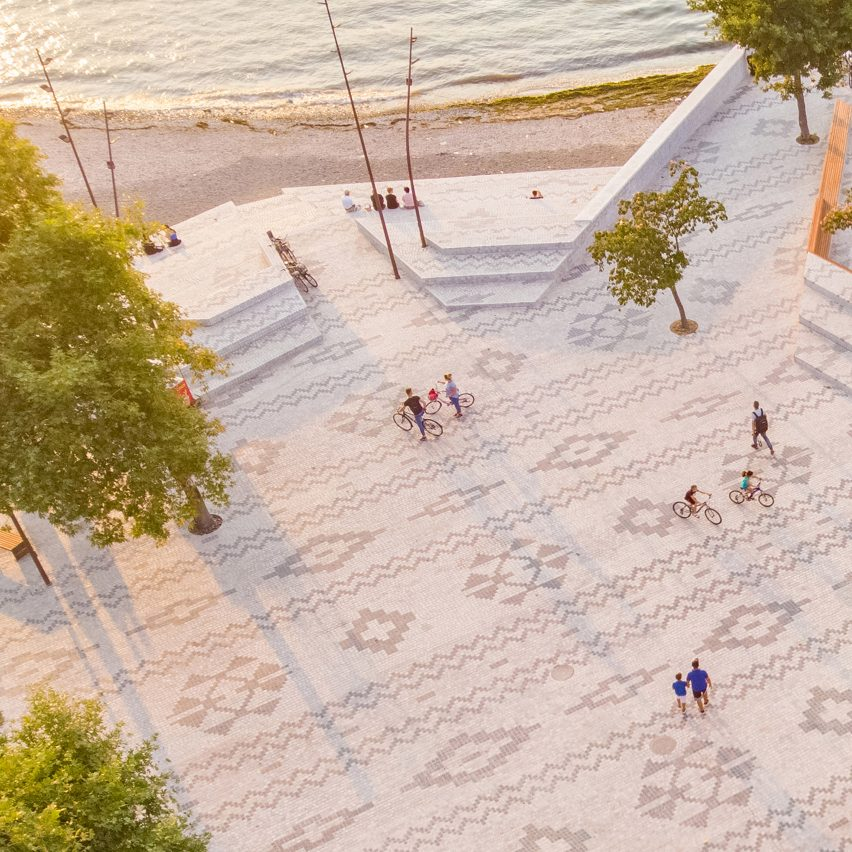 An aerial view of a patterned public plaza