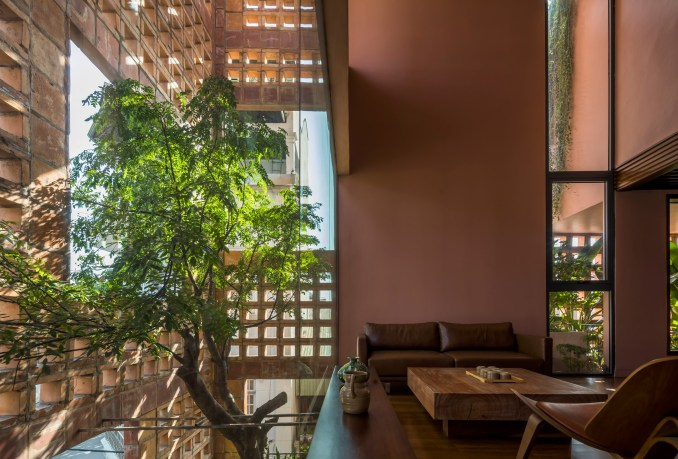 A tree top is viewable from the interior