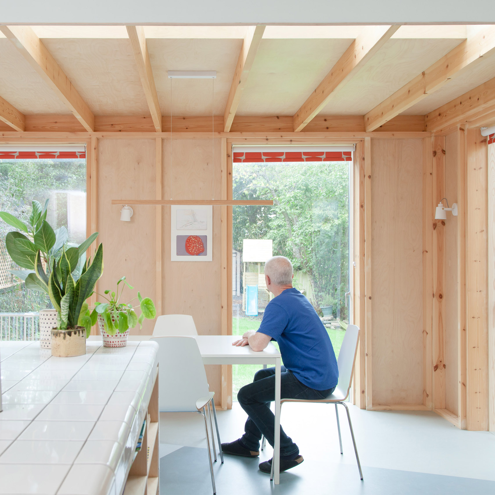The wood-lined kitchen of a London house
