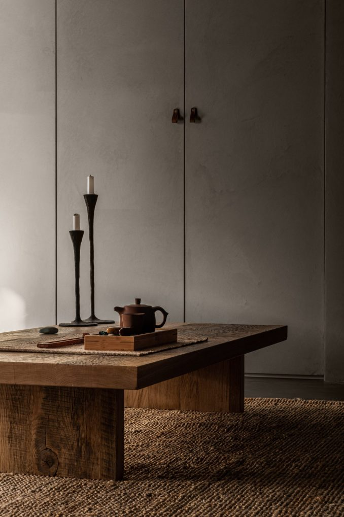 Coffee table for tee ceremonies in apartment designed by Olga Fradina