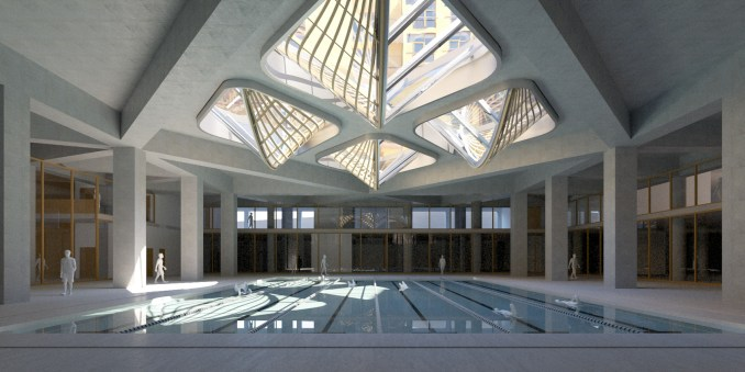 A visual of a swimming pool lit by skylights