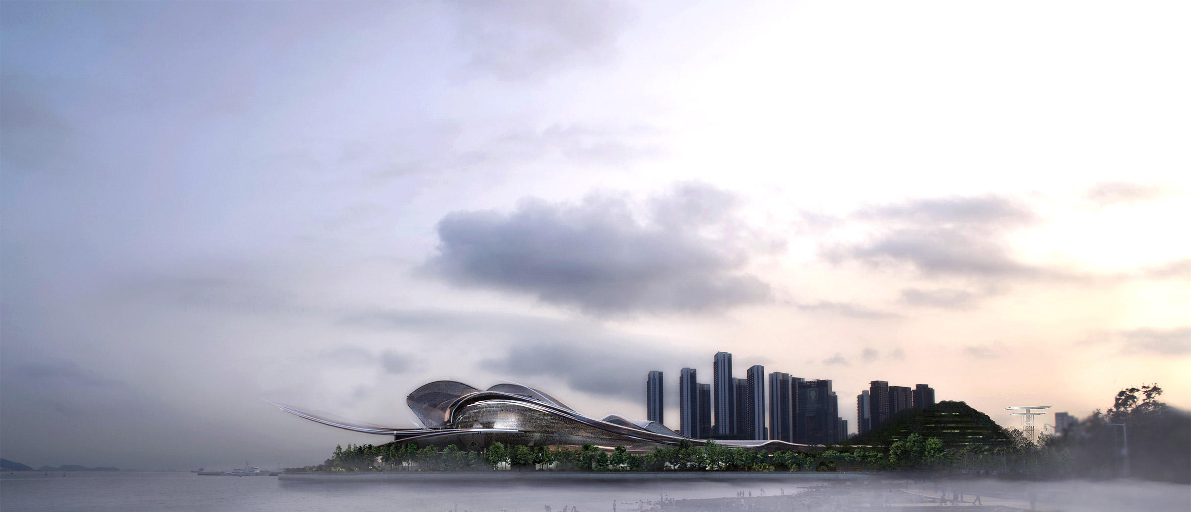 A visual of an opera hall centre in Shenzhen