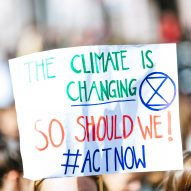 An activist at a climate change protest