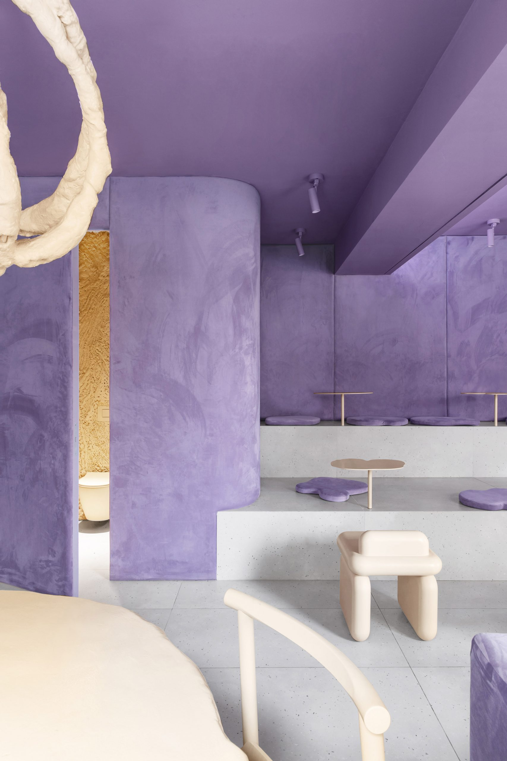 View of cafe with velvet purple walls