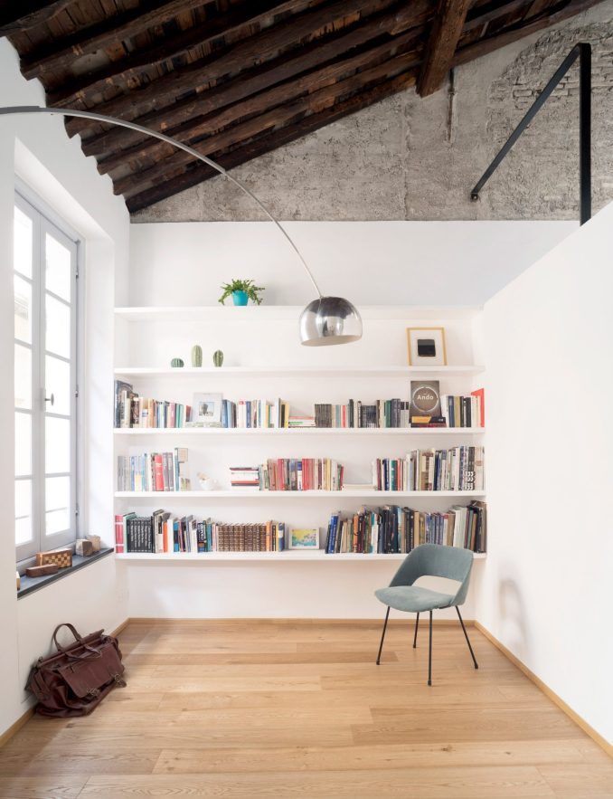 Library in House for a Sea Dog in Genoa by Dodi Moss