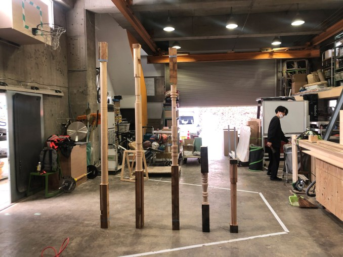 Wooden posts in a workshop