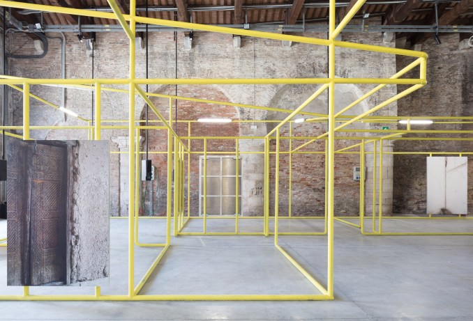 The installation was built within an exposed brick room