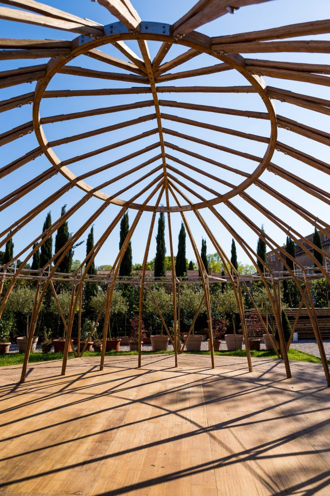 Majlis bamboo structure on site