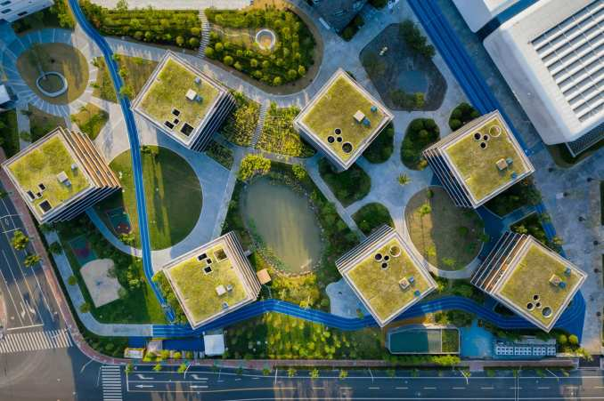 Aerial view of classrooms at Shanghai Qingpu Pinghe International School by Open Architecture