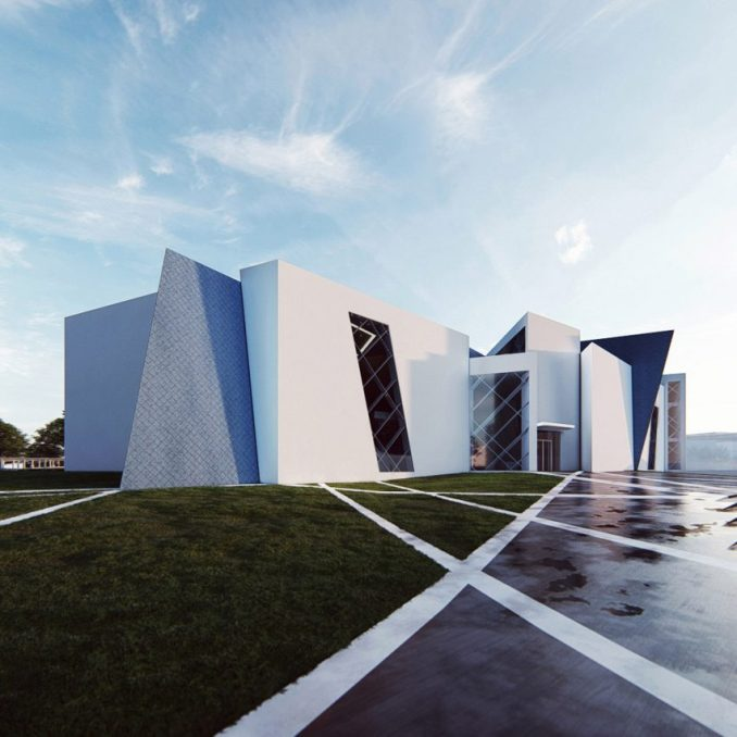 A render of a museum with a white exterior
