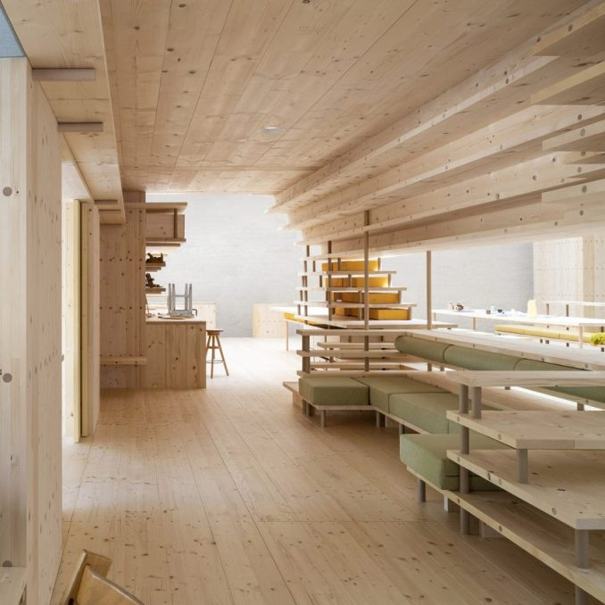 A wooden co-living space