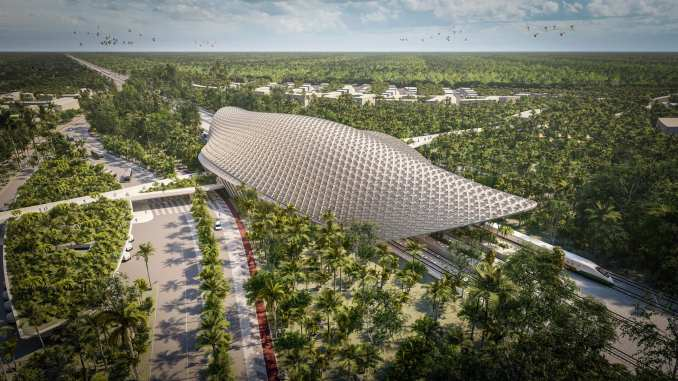 Render of the exterior of a train station for the Tren Maya railway through Tulum