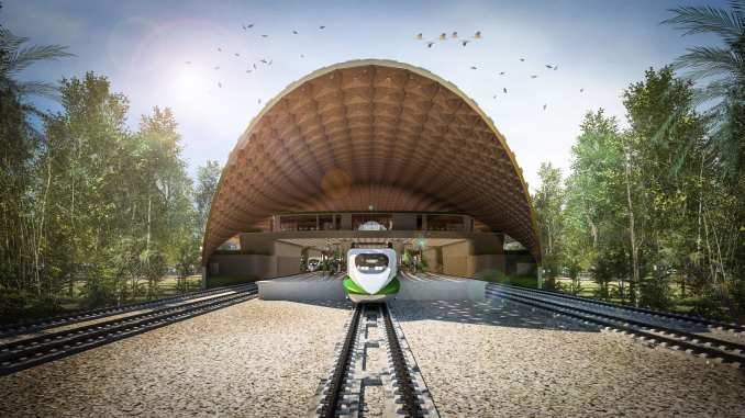 Curving roof over a railway station planned for Mexico