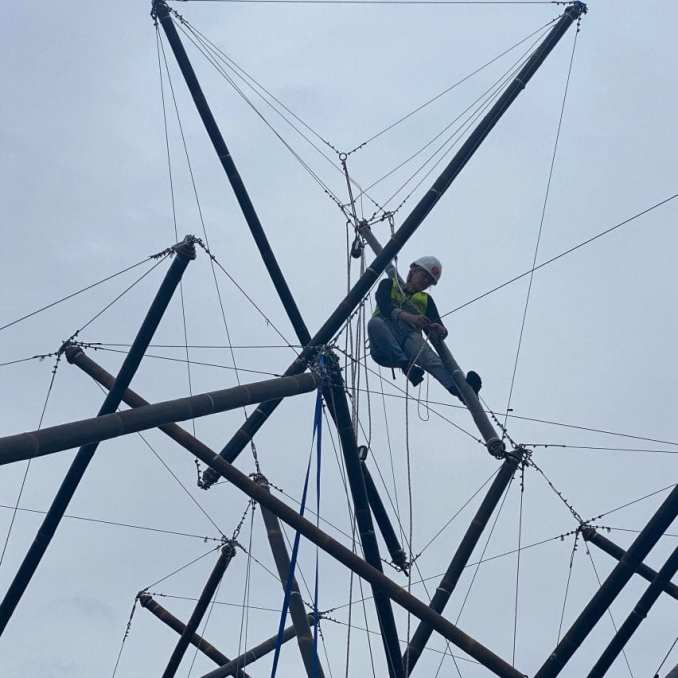 A bamboo tensegrity structure