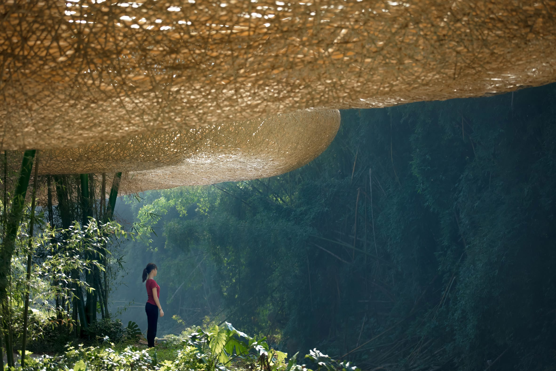 The structure blends with its landscape
