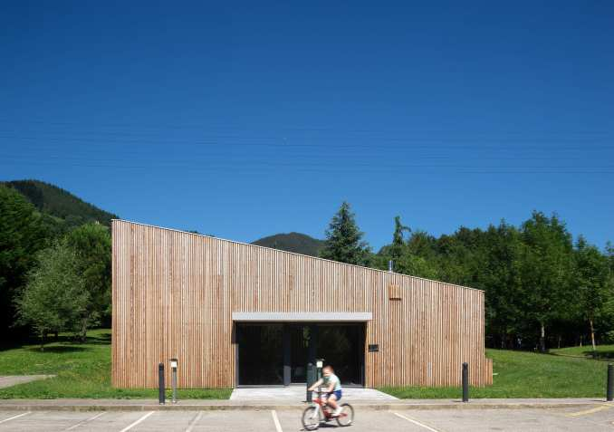 Pilgrims house has a raw wood exterior