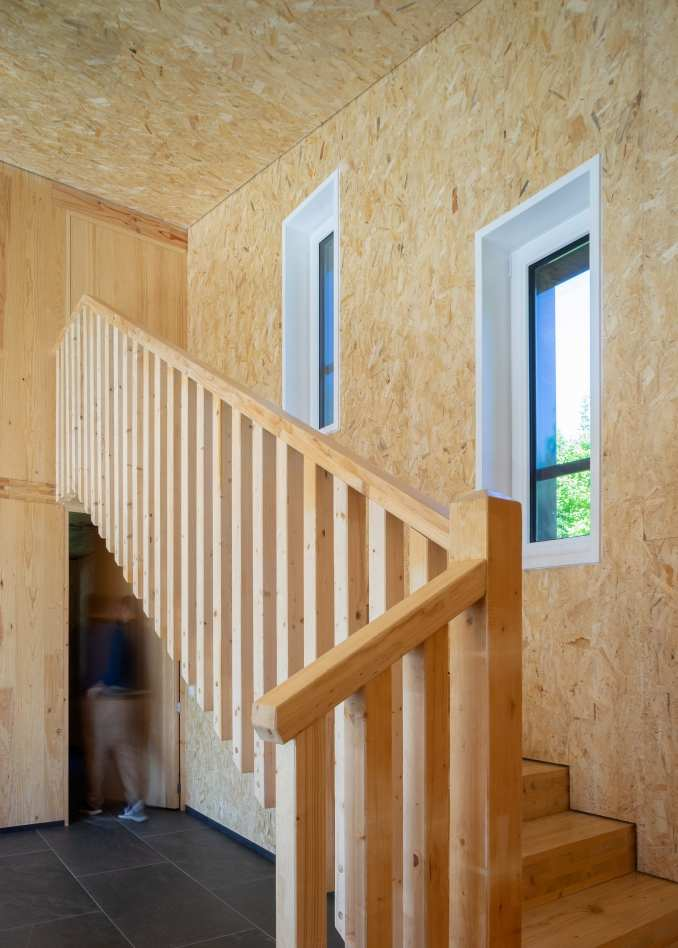 Pilgrims house has a wood lined interior