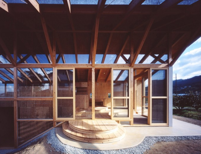Wall of glazing in Japanese timber house
