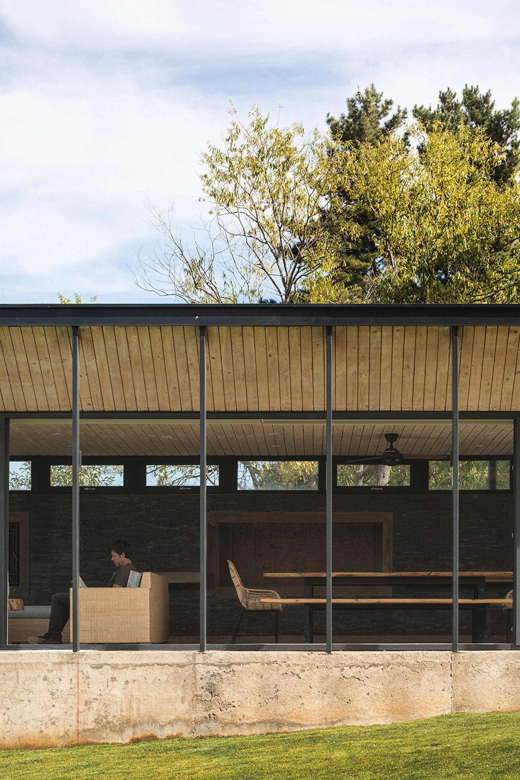 Glass facades on house