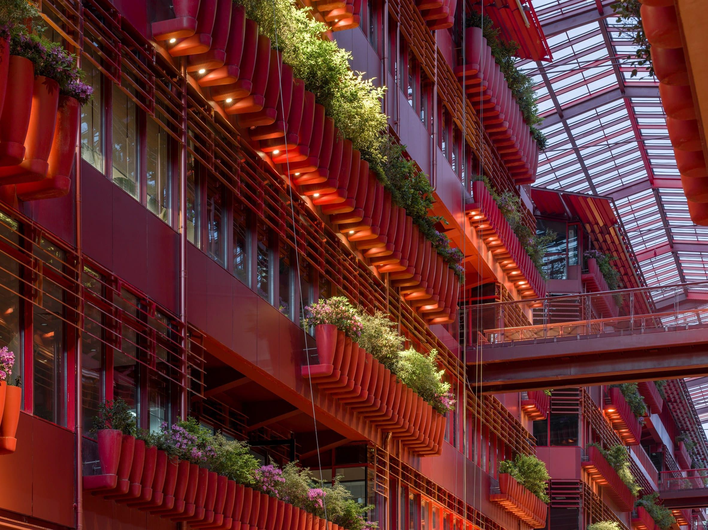 The Henderson CIFI Tiandi building has a bright red finish