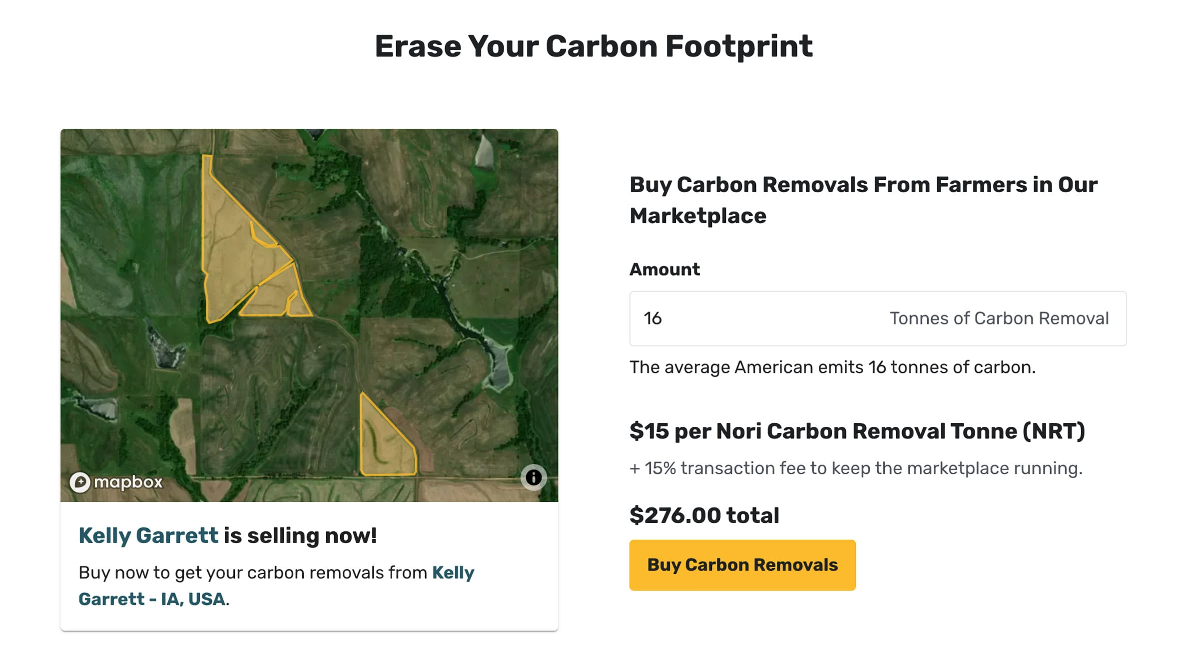Screenshot from carbon calculator on Nori's website showing annual carbon removal needed to offset emissions of average individual