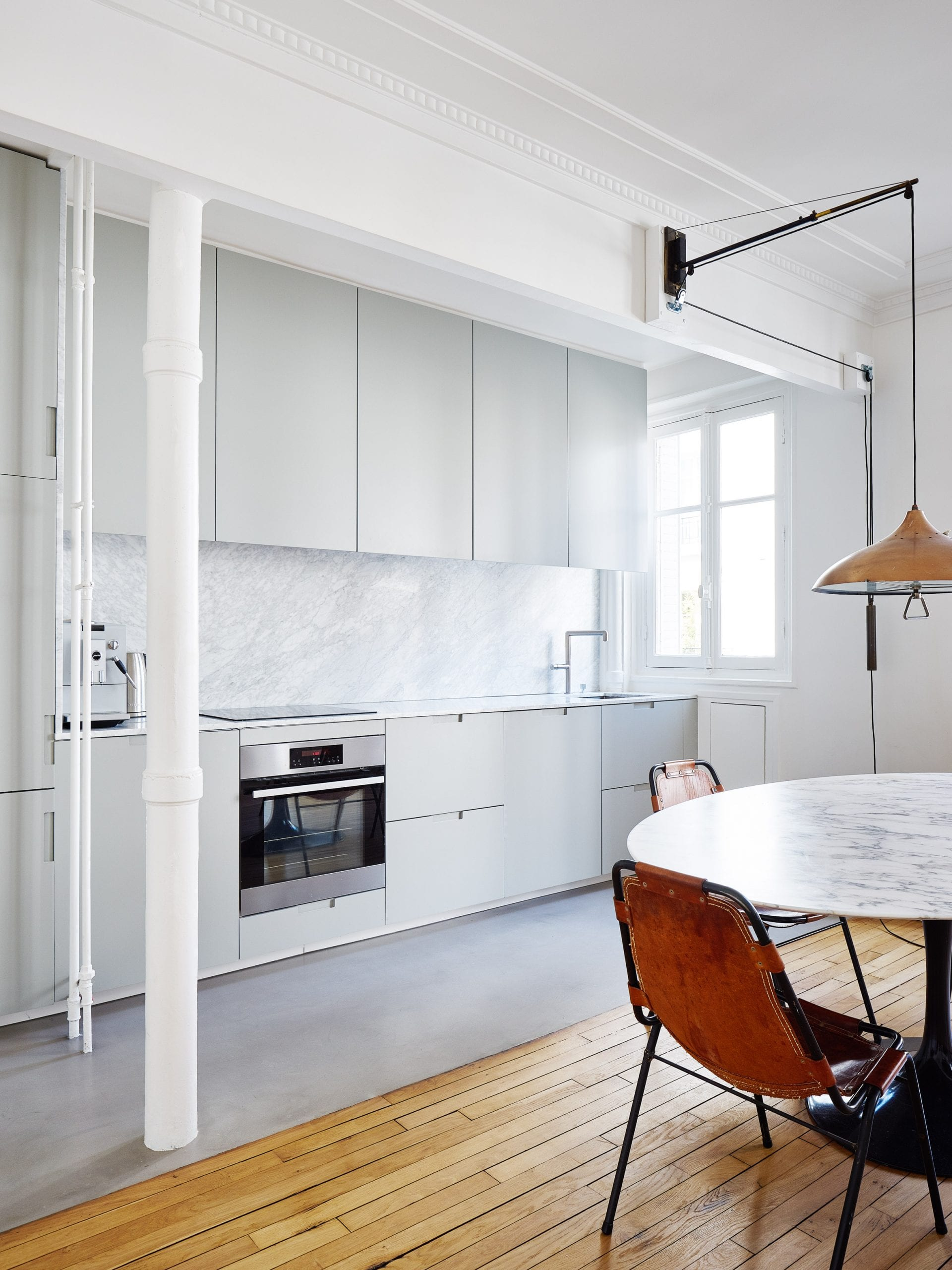Septembre added a grey one-wall kitchen to this French home