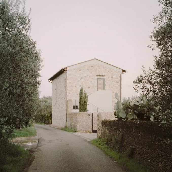 The home is located on a country road